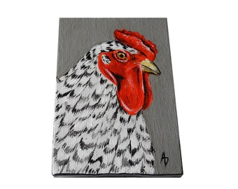 Black and White Rooster mini painting, chicken tiny art