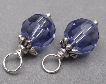 Swarovski Tanzanite Crystal Wire Wrapped Bead Dangles Birthstone Charms Interchangeable Earrings 8mm