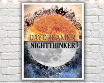 daydreamer nightthinker - typographic wall art - bohemian decor - mixed media word art