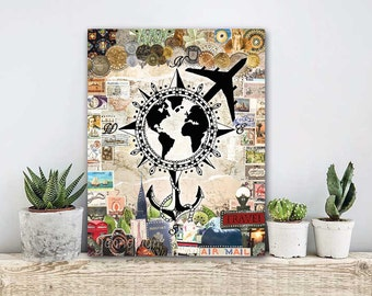 ON SALE 20% OFF wanderlust canvas art - travel wall art - mixed media collage canvas print