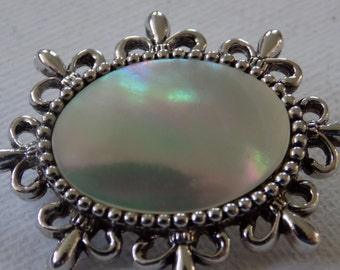 Vintage brooch, signed Sarah Coventry mother-of-pearl  brooch,jewelry