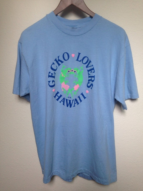 1987 gecko lovers hawaii t shirt rare vintage 80s graphic for Hawaiian graphic t shirts