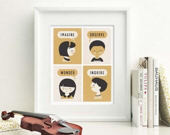 Teacher Art Print, Children's Art Print, Classroom Wall Art, Teacher Gift // BRAIN POWER