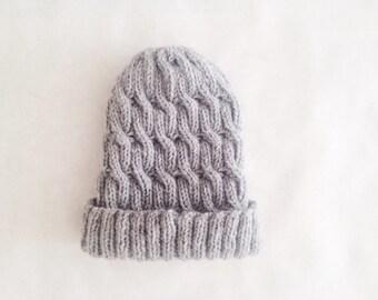 Baby (0-12mo) Cozy Wool Fisherman's Beanie in Gray
