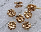 4 pcs 24K Gold Filled Beads Small Double Face Cosmo Flower Spacers Beads, Charms Jewelry Findings,metal brass spacers finding beads