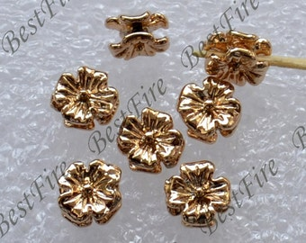 4 pcs 24K Gold plated Brass Beads Small Double Face Cosmo Flower Spacers Beads, Charms Jewelry Findings,metal brass spacers finding beads