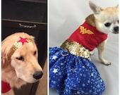 Wonder Woman  dog costume,  Super Hero costume, halloween dog costumes, character dog costumes, wonder woman,