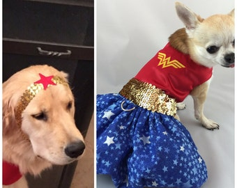 Wonder Woman  dog costume,  Super Hero costume, halloween dog costumes, character dog costumes, harness dress,wonder woman,