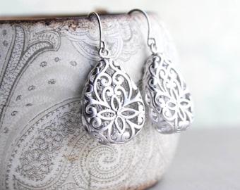 Silver Teardrop Filigree Earrings Boho Wedding Jewelry Bridesmaid Gift Rhodium Lace Modern Pear Filigree Floral Drop Eearrings Nickel Free