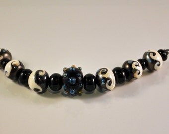 Lampwork Ivory and Silver plum Wave beads