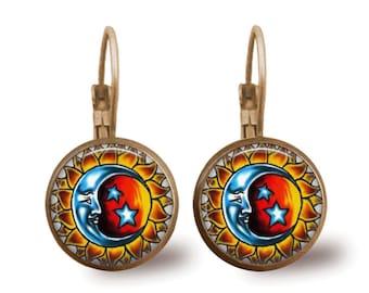 Tile Earrings Sun and Moon Earrings Celestial Jewelry Brass Earrings Glass Tile Jewelry Sun Earrings Celestial Earrings Silver Earrings
