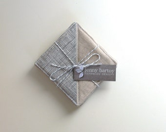 Coasters, Set of 4 - Linen and Crosshatch in Grey - Ready to ship
