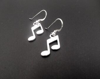 Sterling Silver Earrings, Music Note Earrings, Dangle Drop Earrings, Sterling Silver Jewelry, Music Earrings, Mod Earrings