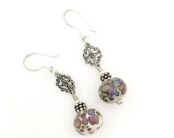Ivory Lampwork Earrings, Glass Bead Earrings, Pastel Dangle Drop Earrings, Glass Bead Jewelry, Beadwork Earrings, Lampwork Jewelry