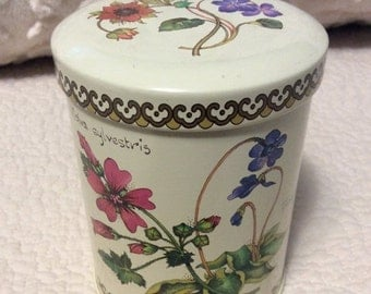20% OFF SALE Vintage WILDFLOWER Botanical Tin Container Cream by Baret Ware of England