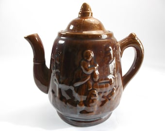 19th C. Rockingham Teapot Rebecca at the Well Brown Glazed Pottery