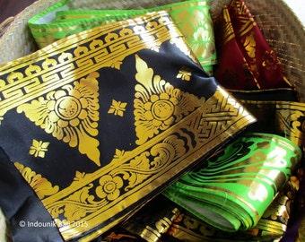 Balinese Traditional Prada Trim Black Flower Motif 20cm x 2 meters