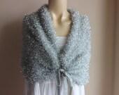 Silver Bridal Capelet / Wedding Wrap Shrug Bolero/Hand Knit  scarf with Bow-vegan scarf