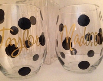 SALE Polka Dot Personalized Wine Glasses, Bridesmaid Wine Glass,Friends- Girls Night Out SET OF 4