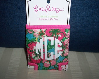 Lilly Pulitzer Monogrammed Drink Hugger BIG FLIRT Gift Wrapped