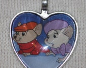 Disney The Rescuers Bianca and Benard Silver Heart Necklace Mice Mouse