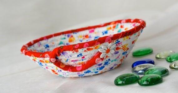 Cute Gift Basket, Fun Rainbow Basket, Handmade Fabric Basket, Pet Paw Print Treat Bowl, Dog Bowl, Cat Bowl, Pet Treat Holder
