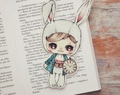 Alice in Wonderland - The White Rabbit - bookmark - made to order