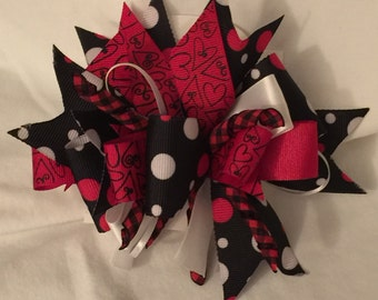 Black and Red Hearts Funky Loop Bow