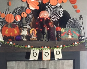 Boo Halloween Book Page Garland, Boo Halloween Decor, Halloween Decor, Printed Book Pages, Recycled Book Page Garland