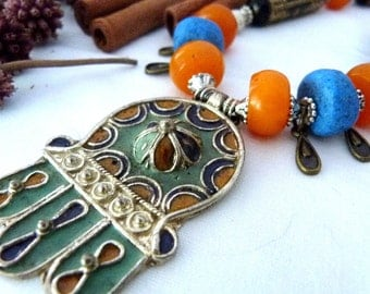 SALE!! Moroccan Amber Hamsa Necklace SALE!!