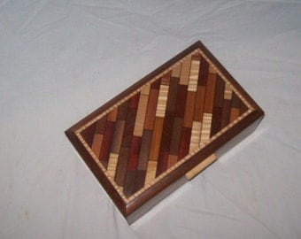 Walnut Parquet Pattern Box Design 10''x6 ''x3 3/4''Handcrafted