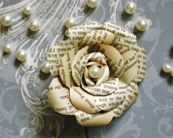recycled vintage book page paper rose boutonniere buttonhole with pearl center flower for groom wedding
