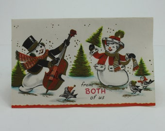 Vintage Unused Christmas New Years Cards Mr & Mrs Snowman From Both of Us With Envelopes Pollyanna Cards Holiday Mid Century Newlyweds