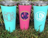 Corkcicle insulated tumbler monogram Personalized Very similar to Yeti rambler bridesmaid gift Father's Day graduate teacher bridal party