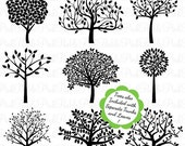 HALLOWEEN SALE Tree Silhouettes Clipart Clip Art, Family Tree Clipart Clip Art - Commercial and Personal Use