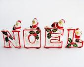 Vintage Christmas Ceramic Noel Santa Candle Holders Holiday Table Decoration Ornaments