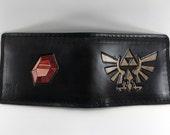 Zelda Hyrule Crest & Rupee Hand Tooled Leather Wallet