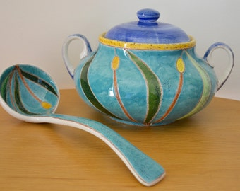 Eduardo Vega Ceramic Soup Tureen and Serving Spoon