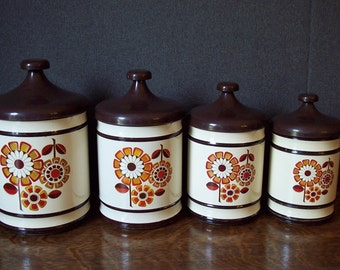 Vintage 1970s Metal Kitchen Canister Set with Floral Design by Lincoln BeautyWare