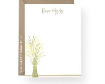 PRINTED - Set of 8 Sweetgrass Notecards, South Carolina Lowcountry Coastal Stationery, Charleston, South Carolina Gift by Palmetto Greetings