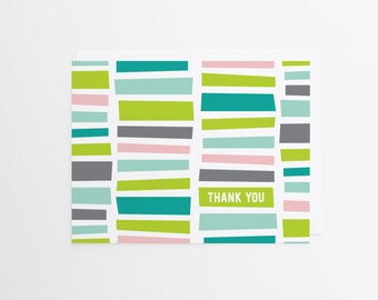 Staccato Thank You Card | Geometric Pattern Greeting Card | Muli-color