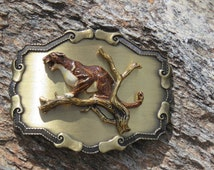 Brass Mountain Lion Belt Buckle, Western Wear, Cowboy, Vintage Outdoors Man, Wildlife, Hunting, Raintree, Cougar, Puma Raised Belt Buckle