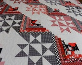 Queen Quilt, Star and Log Cabin, Red, White and Black