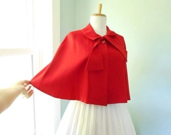 Sexy 1950s 50s 60s Lipstick Little Red Riding Hood Shrug Stole Wrap Cape