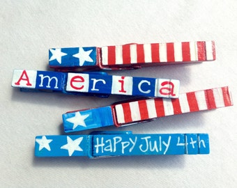 Happy 4th of JULY red white and blue stars and stripes America hand painted magnetic clothespin set  independence day