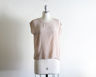 Vintage Pale Silk Shell Blouse / S M