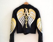 Vintage Black Leather Motorcycle Jacket by North Beach Michael Hoban// Vintage Black Metallic Leather Moto Size Large with Angel Wings