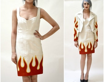 Stunning White Leather Dress by Michael Hoban North Beach// 90s Vintage Leather Dress White with Flames Small Medium Biker Dress