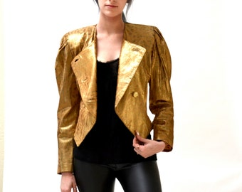 Vintage Gold Leather Jacket Size XS Small // 80s Vintage Metallic Gold Leather Jacket with Leopard Print Size Small