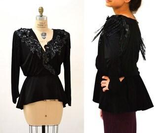 Vintage Black Sequin Fringe Top Size Large// 80s Vintage Black Sequin Shirt Wrap Shirt with Peplum and Fringe Size Large